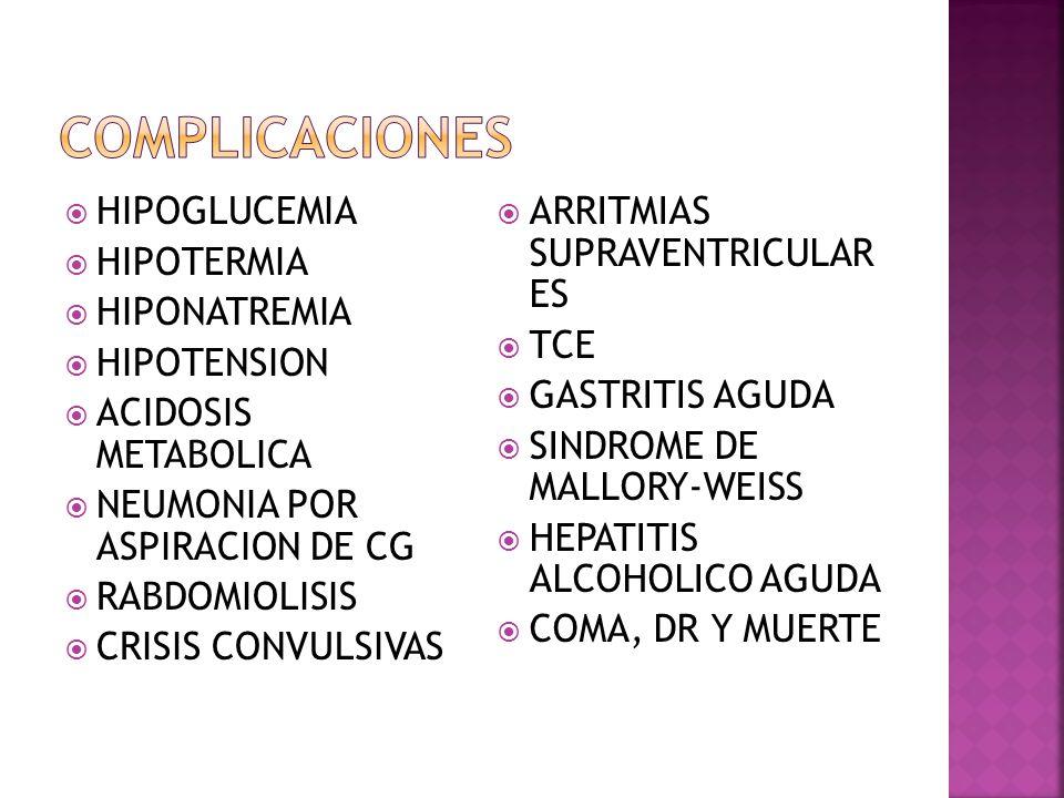 COMPLICACIONES HIPOGLUCEMIA HIPOTERMIA HIPONATREMIA HIPOTENSION
