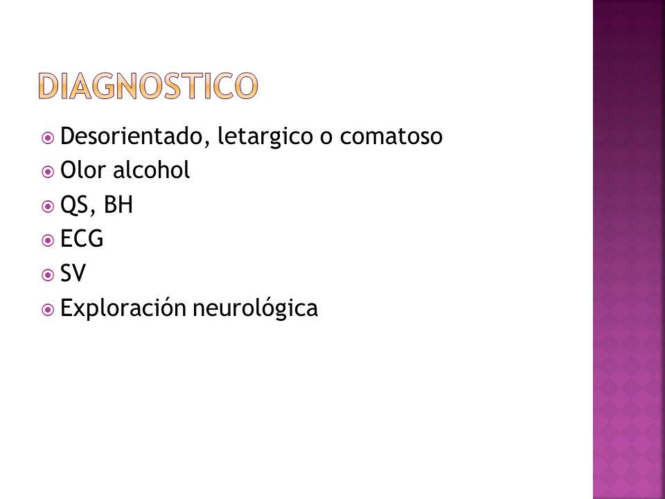 DIAGNOSTICO Desorientado, letargico o comatoso Olor alcohol QS, BH ECG