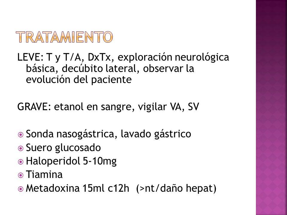 TRATAMIENTO LEVE: T y T/A, DxTx, exploración neurológica básica, decúbito lateral, observar la evolución del paciente.