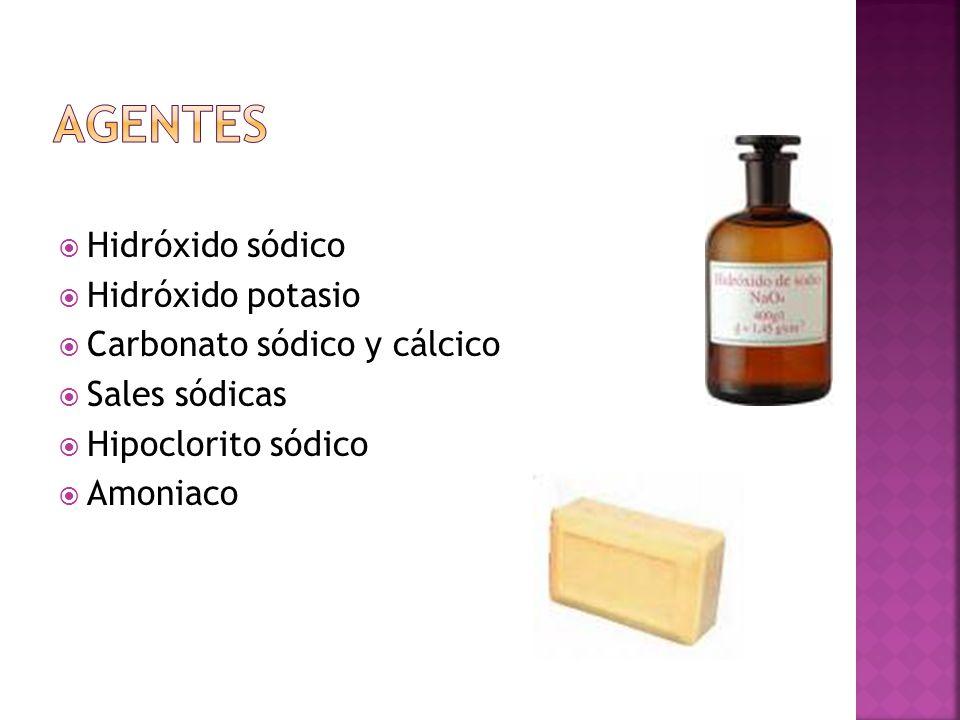 agentes Hidróxido sódico Hidróxido potasio Carbonato sódico y cálcico