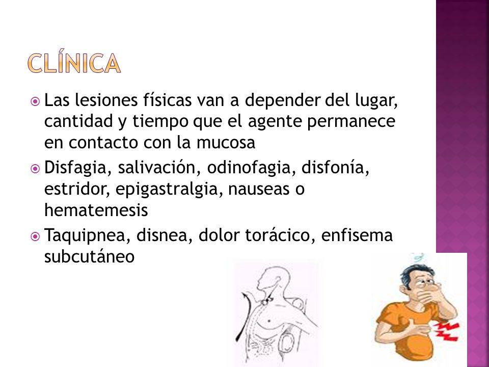 Clínica Las lesiones físicas van a depender del lugar, cantidad y tiempo que el agente permanece en contacto con la mucosa.