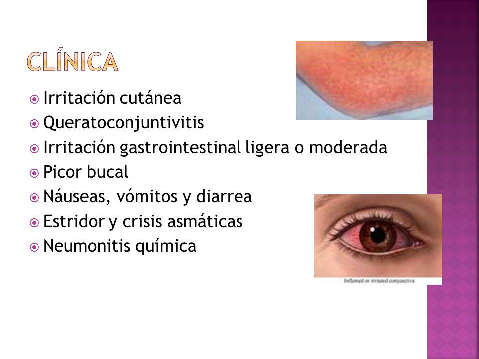 clínica Irritación cutánea Queratoconjuntivitis
