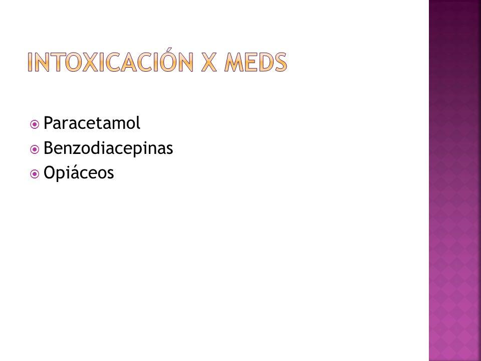 Intoxicación x meds Paracetamol Benzodiacepinas Opiáceos