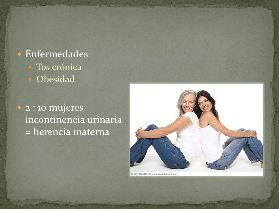 2 : 10 mujeres incontinencia urinaria = herencia materna