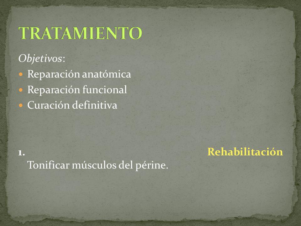 TRATAMIENTO Objetivos: Reparación anatómica Reparación funcional