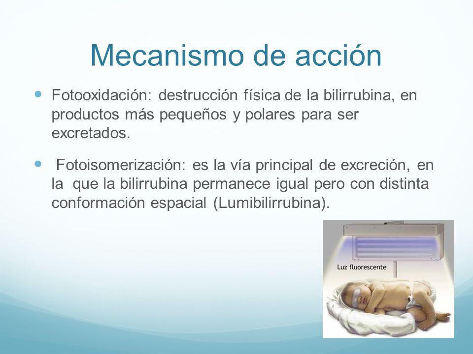 Mecanismo de acción Fotooxidación: destrucción física de la bilirrubina, en productos más pequeños y polares para ser excretados.