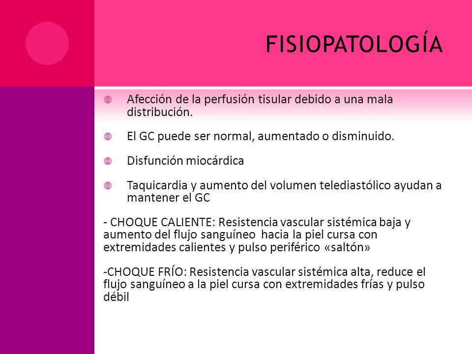 fisiopatología Afección de la perfusión tisular debido a una mala distribución. El GC puede ser normal, aumentado o disminuido.