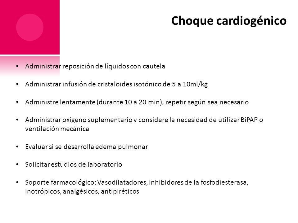 Choque cardiogénico Administrar reposición de líquidos con cautela