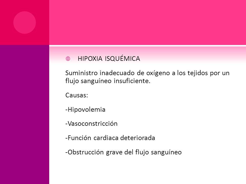 HIPOXIA ISQUÉMICA Suministro inadecuado de oxígeno a los tejidos por un flujo sanguíneo insuficiente.