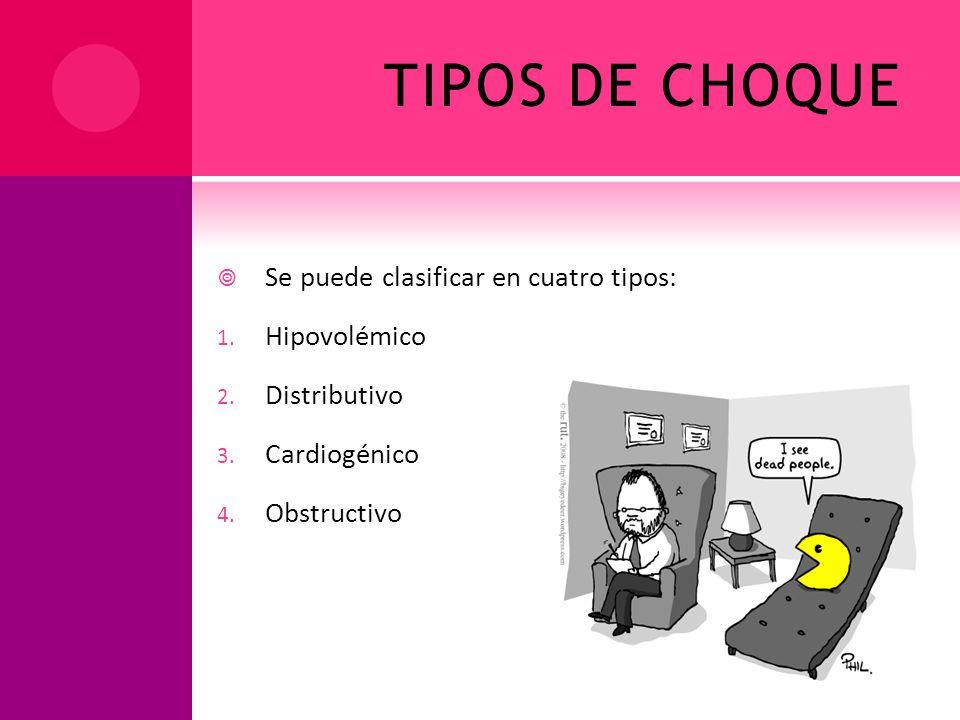 TIPOS DE CHOQUE Se puede clasificar en cuatro tipos: Hipovolémico