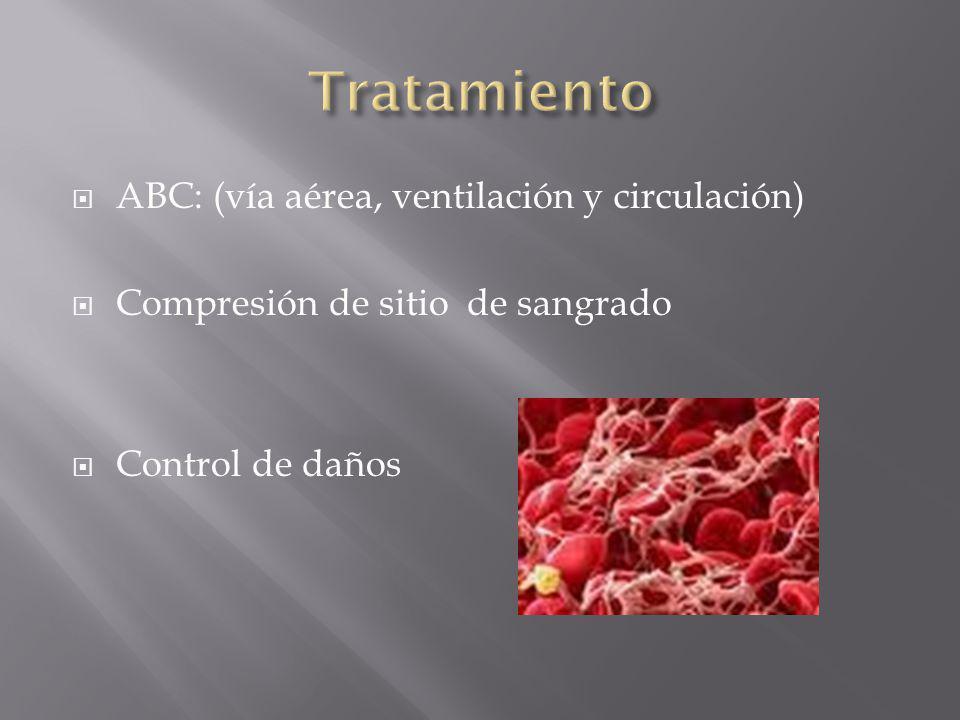 Tratamiento ABC: (vía aérea, ventilación y circulación)