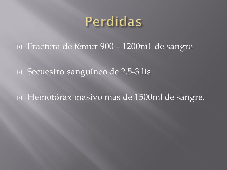 Perdidas Fractura de fémur 900 – 1200ml de sangre