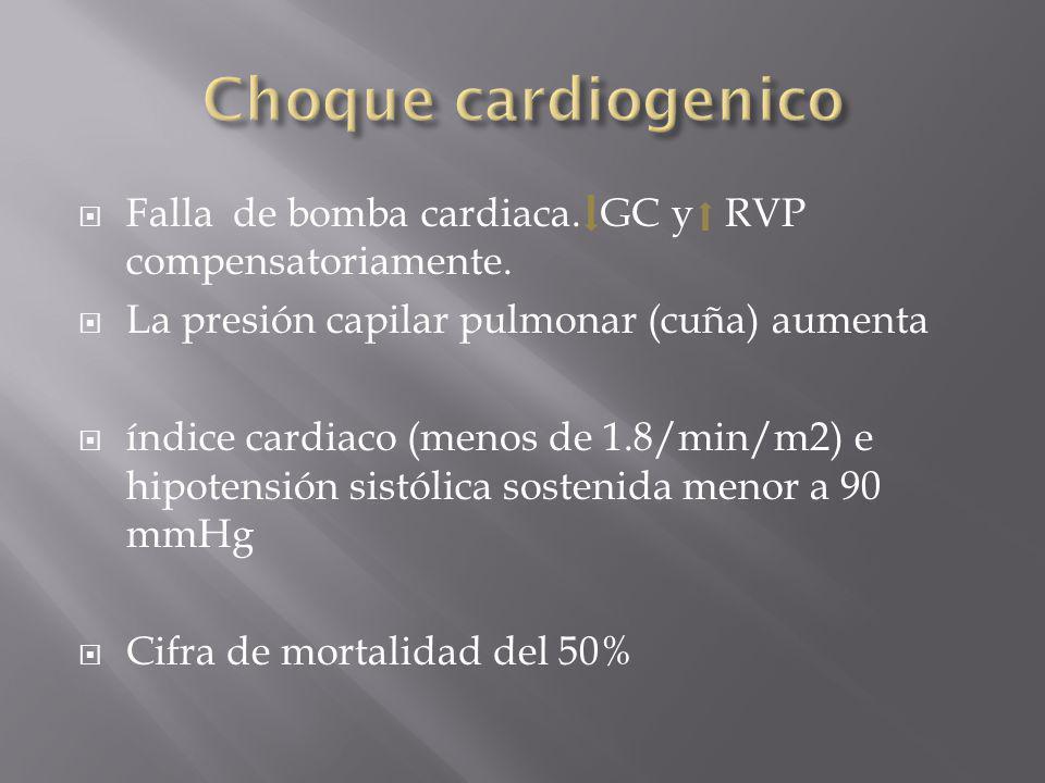 Choque cardiogenico Falla de bomba cardiaca. GC y RVP compensatoriamente. La presión capilar pulmonar (cuña) aumenta.