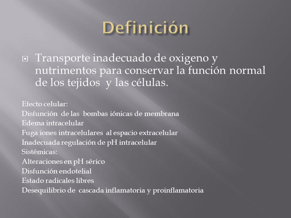 Definición Transporte inadecuado de oxigeno y nutrimentos para conservar la función normal de los tejidos y las células.