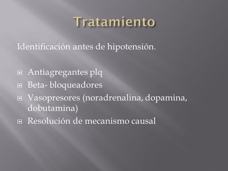 Tratamiento Identificación antes de hipotensión. Antiagregantes plq
