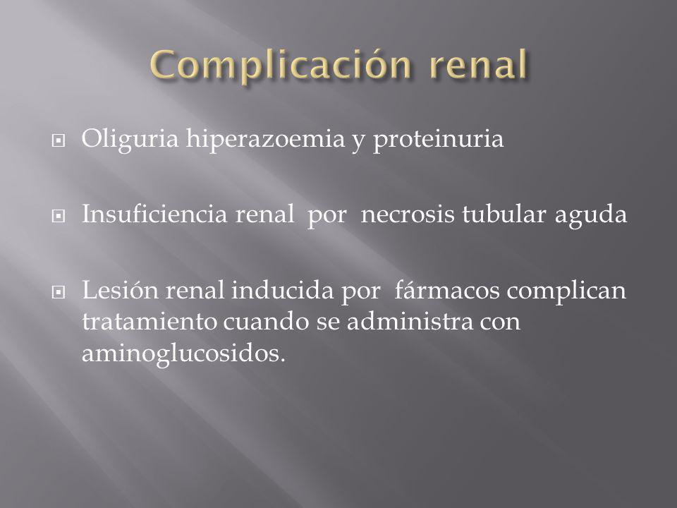 Complicación renal Oliguria hiperazoemia y proteinuria