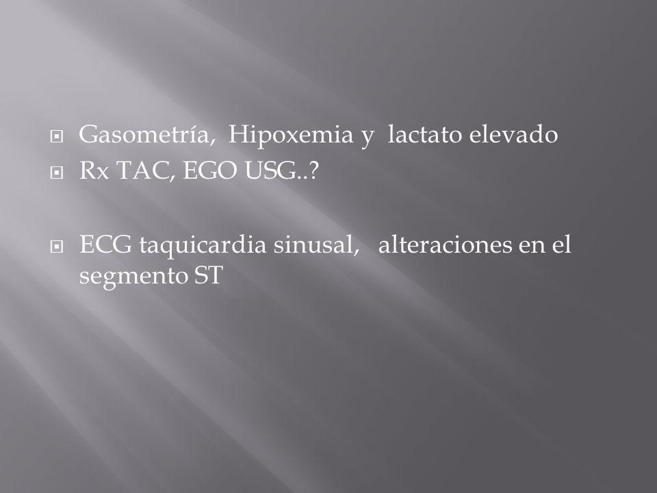 Gasometría, Hipoxemia y lactato elevado