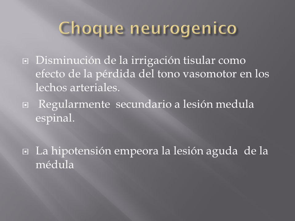 Choque neurogenico Disminución de la irrigación tisular como efecto de la pérdida del tono vasomotor en los lechos arteriales.