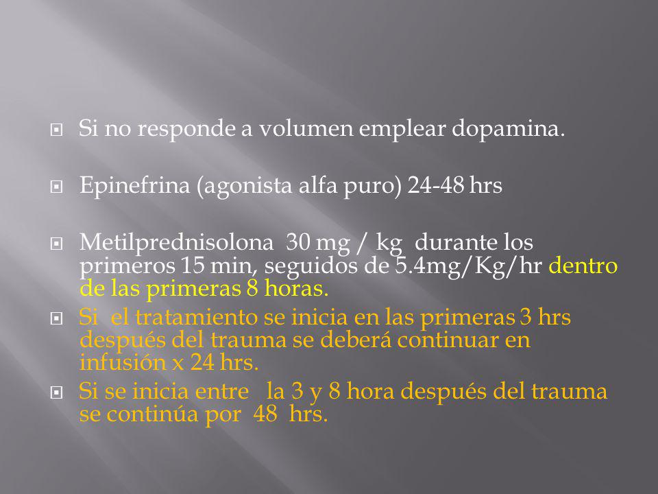 Si no responde a volumen emplear dopamina.
