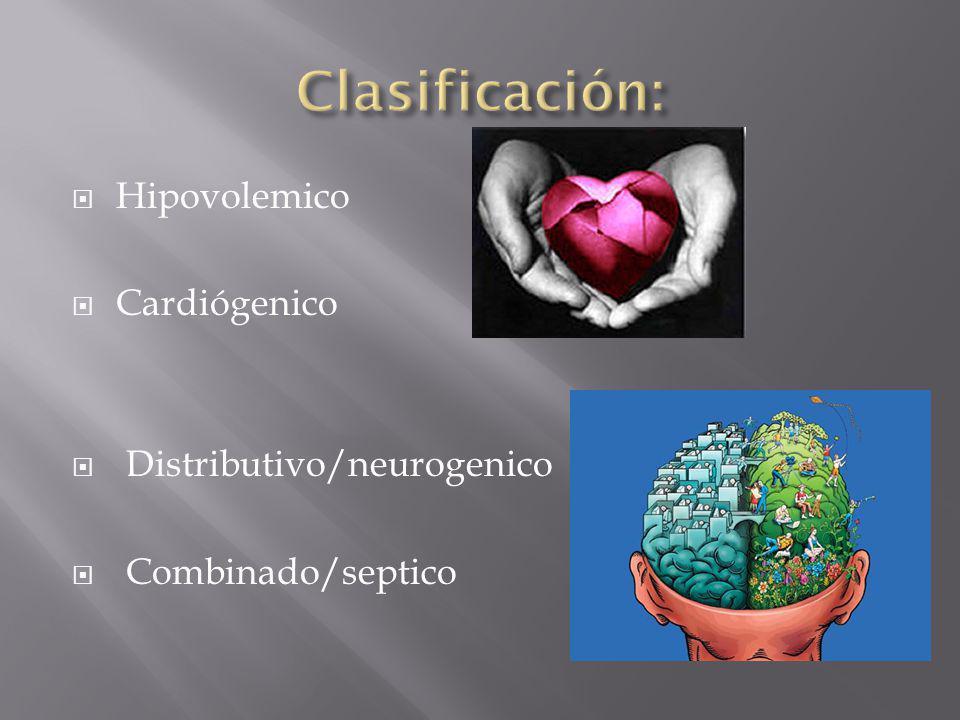 Clasificación: Hipovolemico Cardiógenico Distributivo/neurogenico