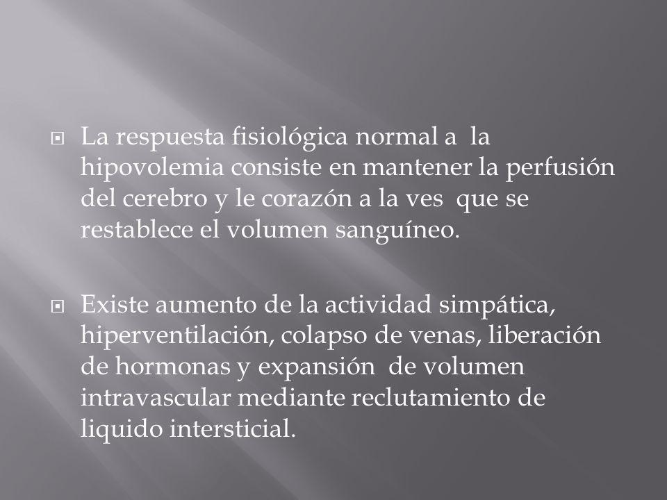 La respuesta fisiológica normal a la hipovolemia consiste en mantener la perfusión del cerebro y le corazón a la ves que se restablece el volumen sanguíneo.