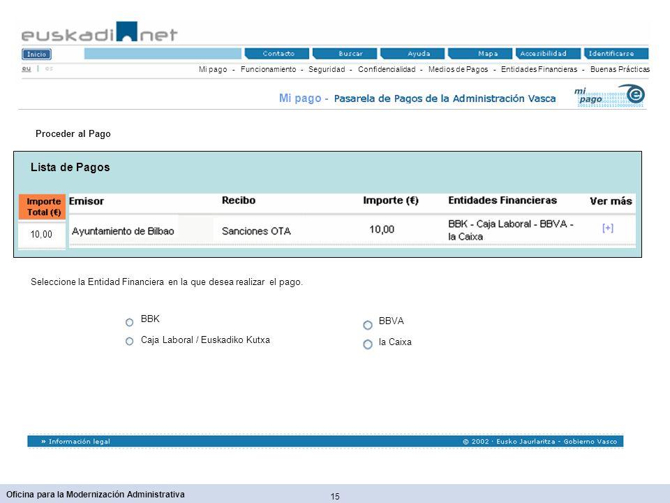 Mi pago - Lista de Pagos Proceder al Pago 10,00