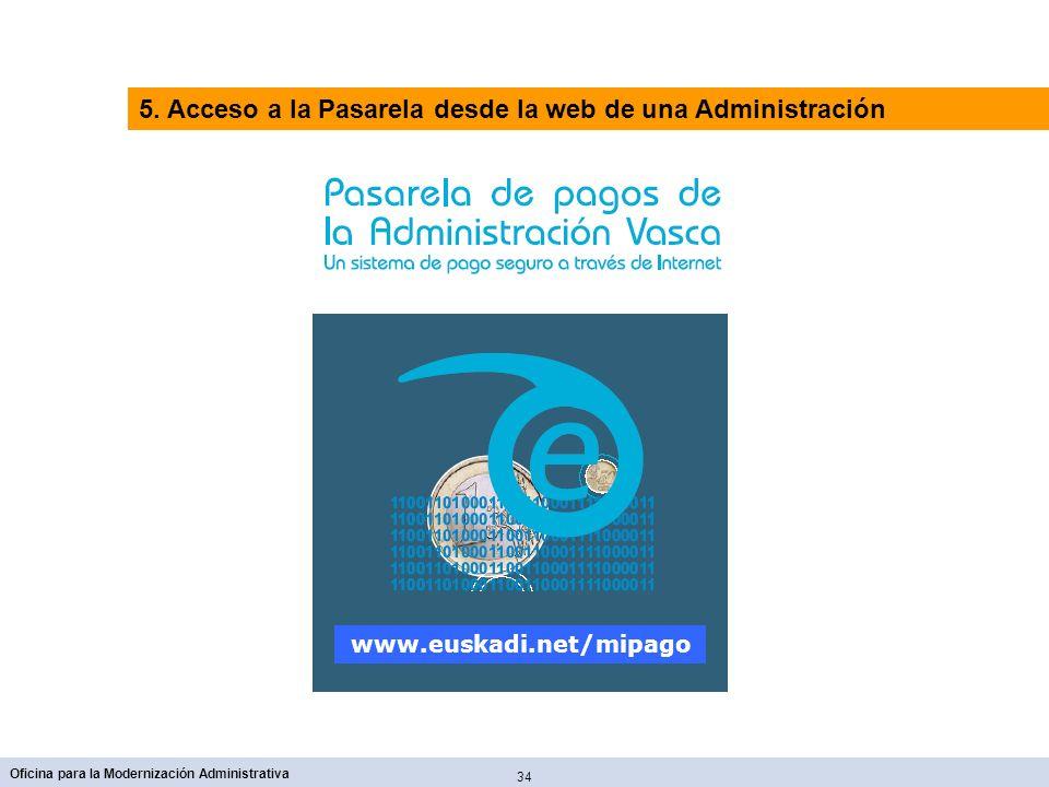 5. Acceso a la Pasarela desde la web de una Administración