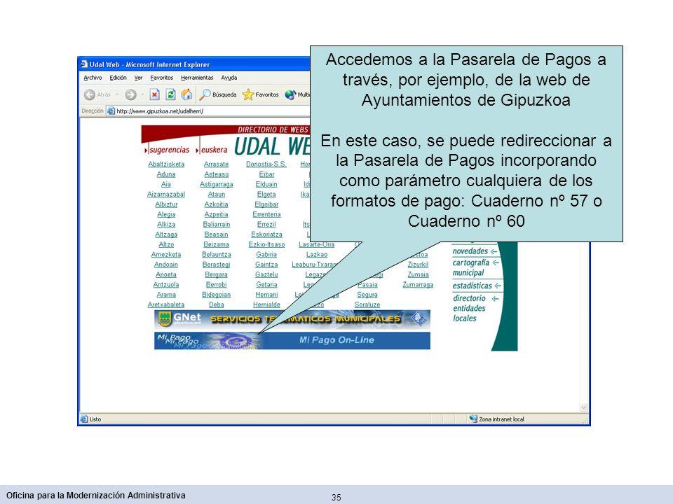 Accedemos a la Pasarela de Pagos a través, por ejemplo, de la web de Ayuntamientos de Gipuzkoa