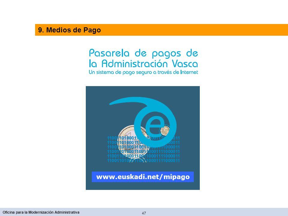 9. Medios de Pago www.euskadi.net/mipago