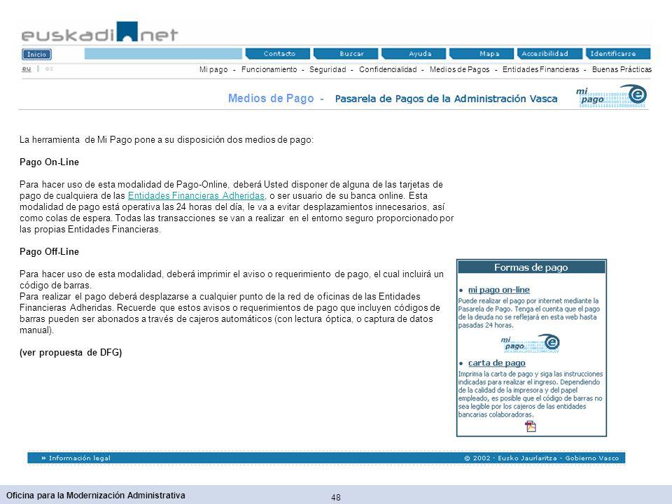 Mi pago - Funcionamiento - Seguridad - Confidencialidad - Medios de Pagos - Entidades Financieras - Buenas Prácticas