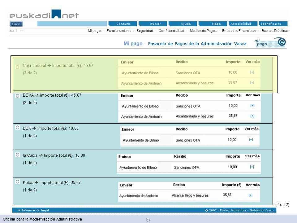 Mi pago - Caja Laboral  Importe total (€): 45,67 (2 de 2)