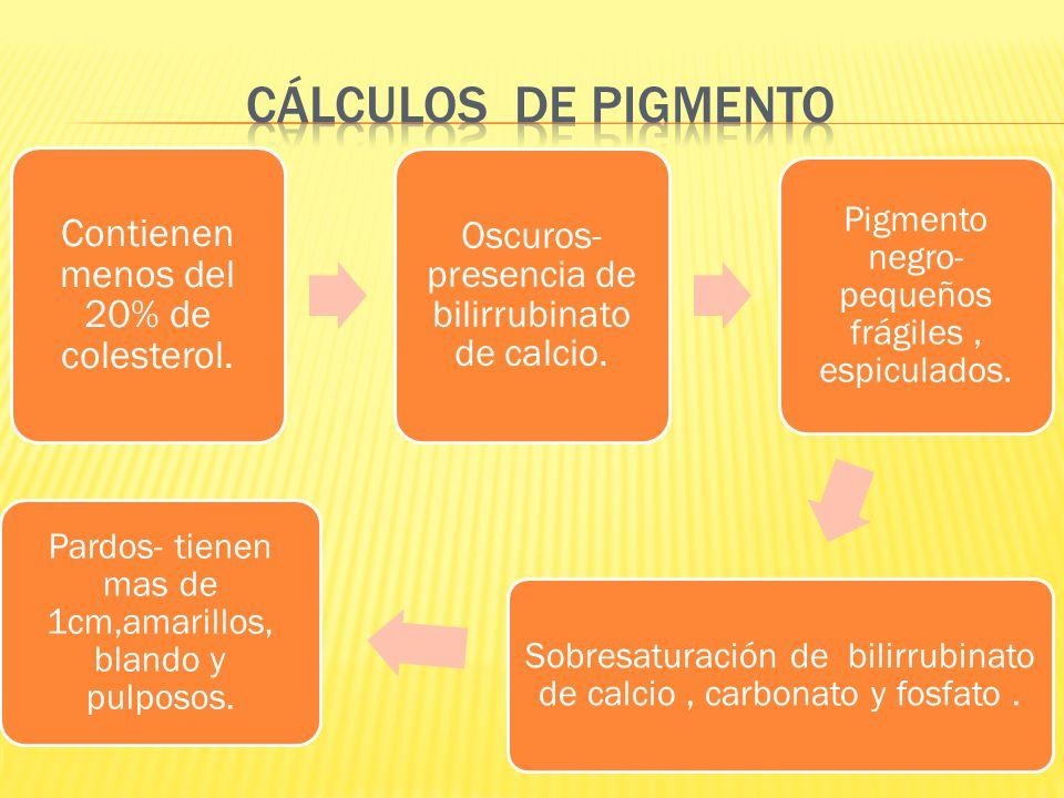 CÁLCULOS DE PIGMENTO Contienen menos del 20% de colesterol.