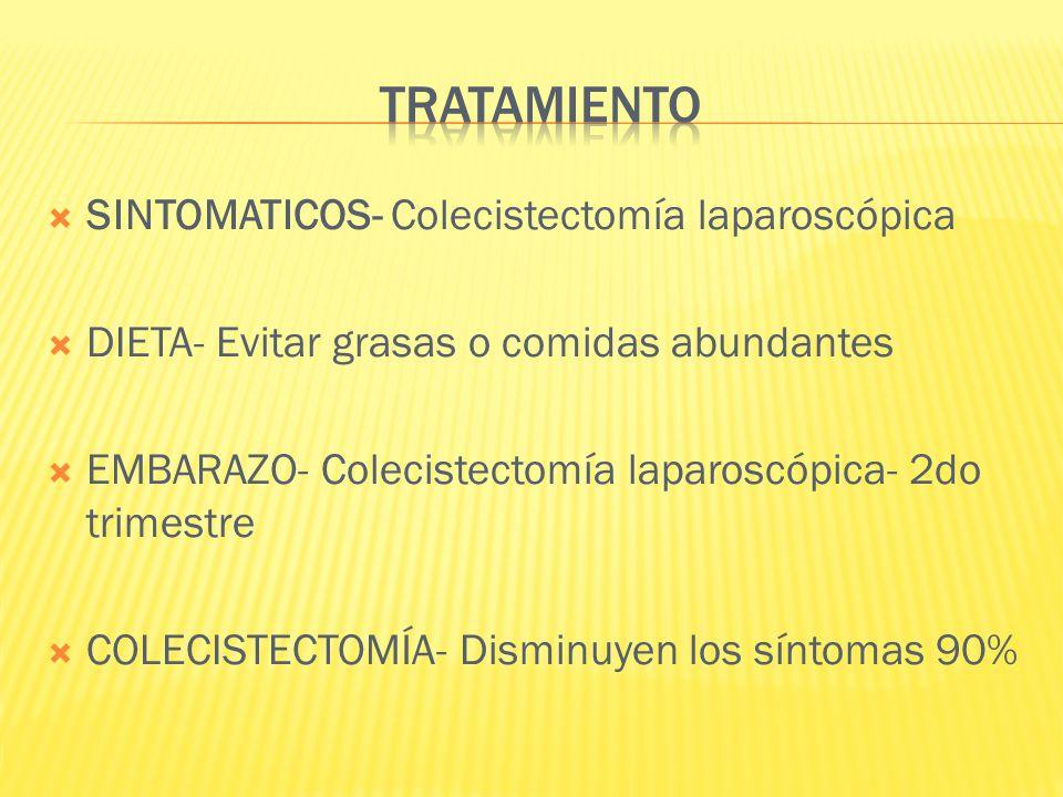 TRATAMIENTO SINTOMATICOS- Colecistectomía laparoscópica