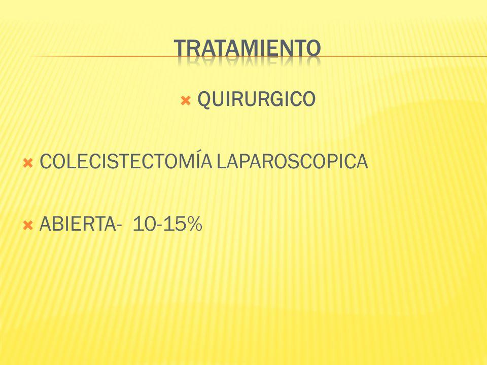 TRATAMIENTO QUIRURGICO COLECISTECTOMÍA LAPAROSCOPICA ABIERTA- 10-15%