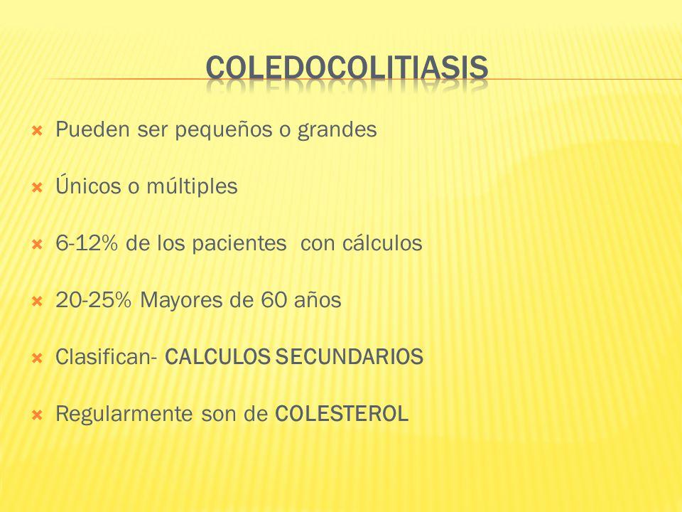 COLEDOCOLITIASIS Pueden ser pequeños o grandes Únicos o múltiples