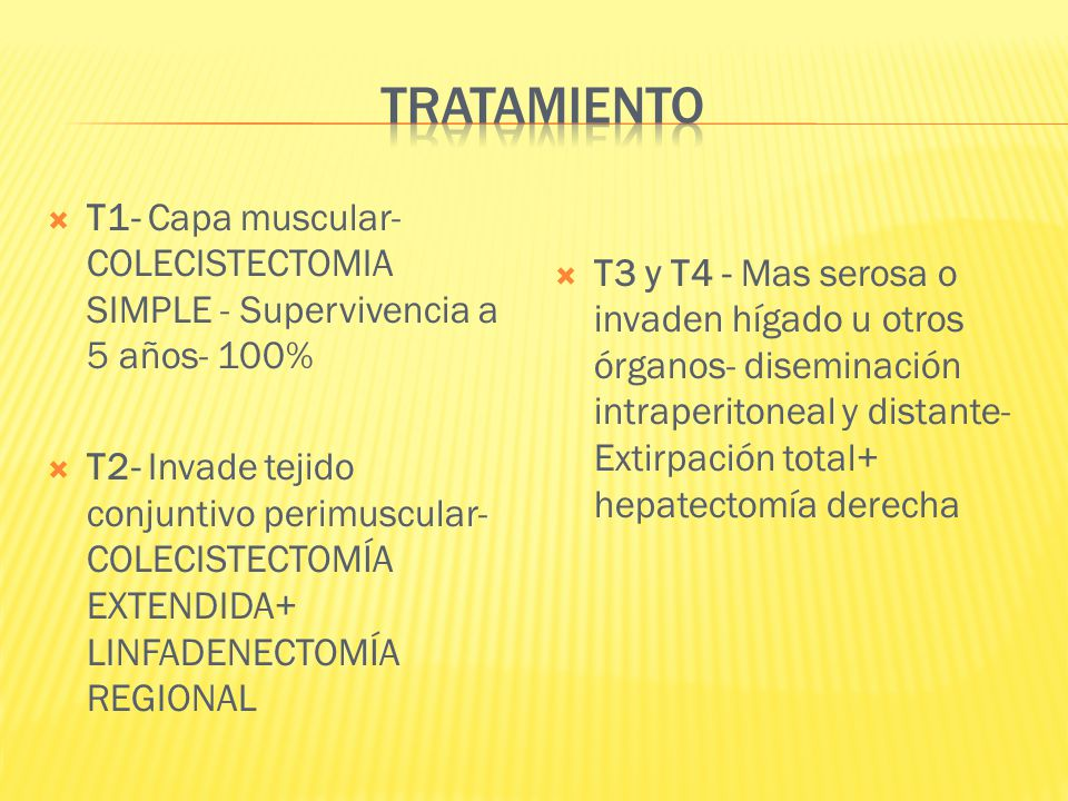 TRATAMIENTO T1- Capa muscular- COLECISTECTOMIA SIMPLE - Supervivencia a 5 años- 100%