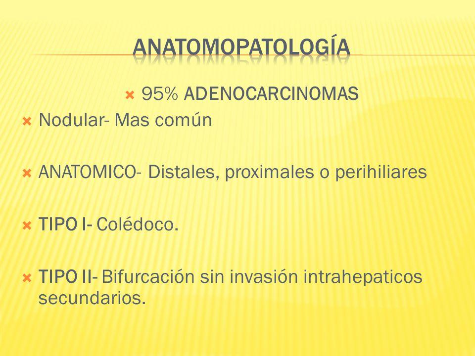 ANATOMOPATOLOGÍA 95% ADENOCARCINOMAS Nodular- Mas común