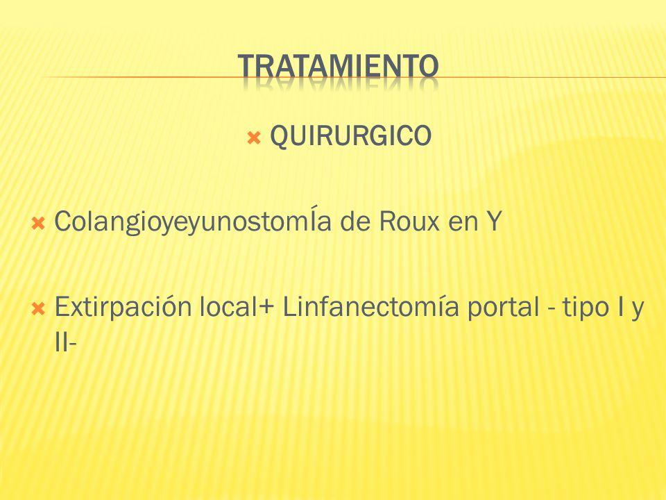 TRATAMIENTO QUIRURGICO ColangioyeyunostomÍa de Roux en Y
