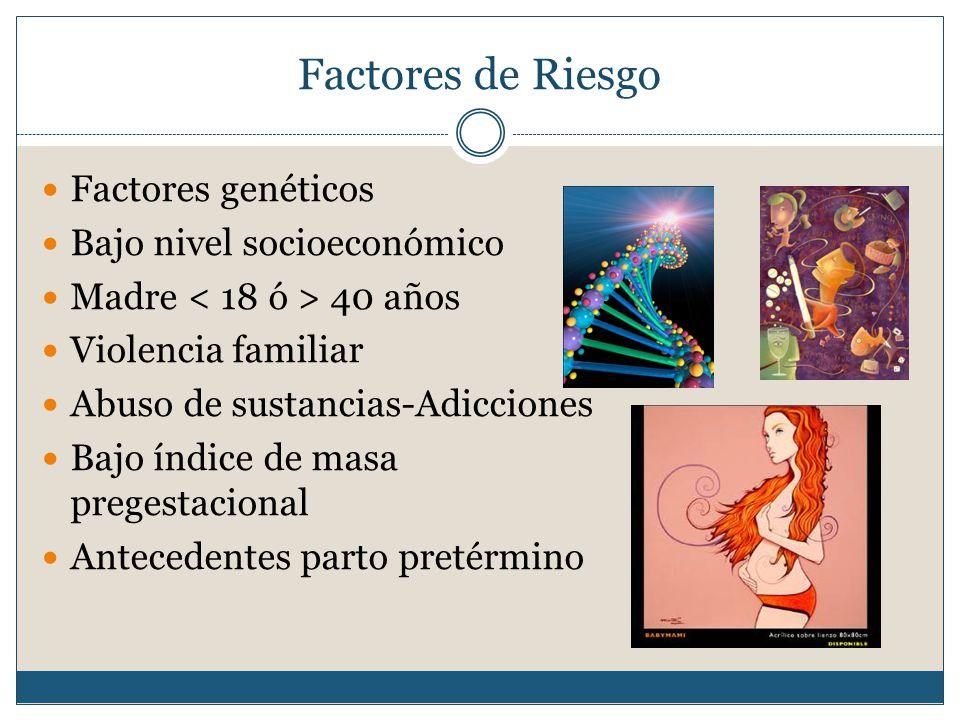 Factores de Riesgo Factores genéticos Bajo nivel socioeconómico
