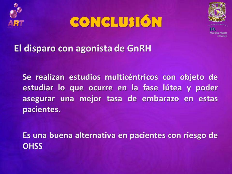 CONCLUSIÓN El disparo con agonista de GnRH