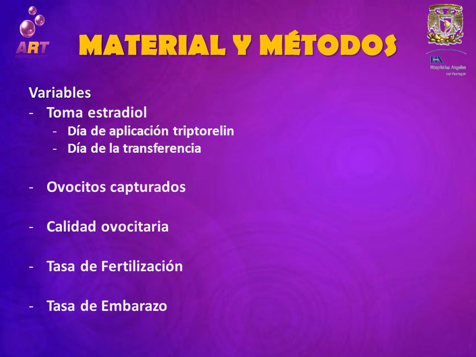 MATERIAL Y MÉTODOS Variables Toma estradiol Ovocitos capturados