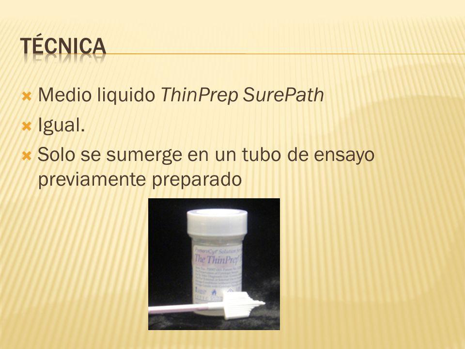 Técnica Medio liquido ThinPrep SurePath Igual.