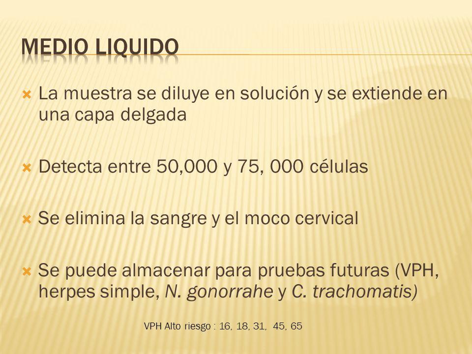 Medio Liquido La muestra se diluye en solución y se extiende en una capa delgada. Detecta entre 50,000 y 75, 000 células.