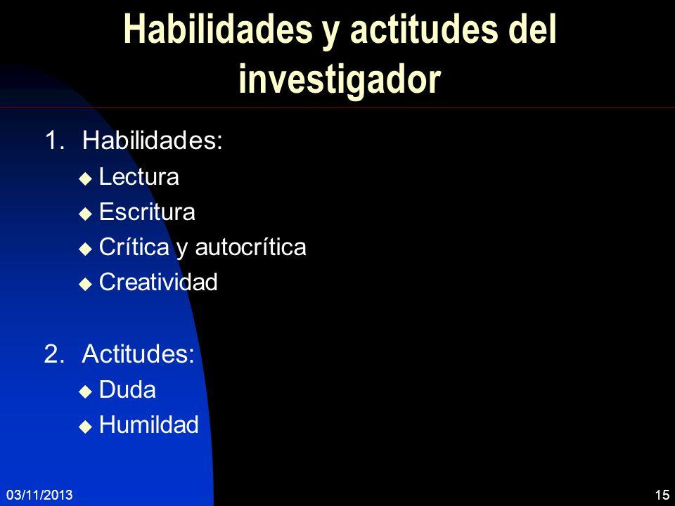 Habilidades y actitudes del investigador