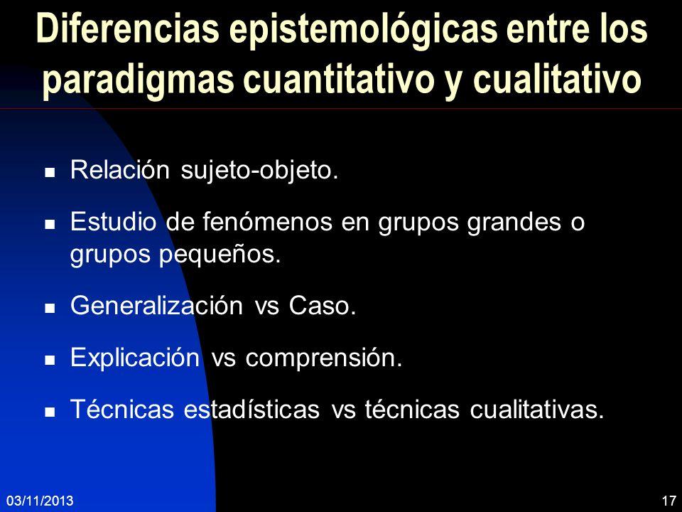 Diferencias epistemológicas entre los paradigmas cuantitativo y cualitativo