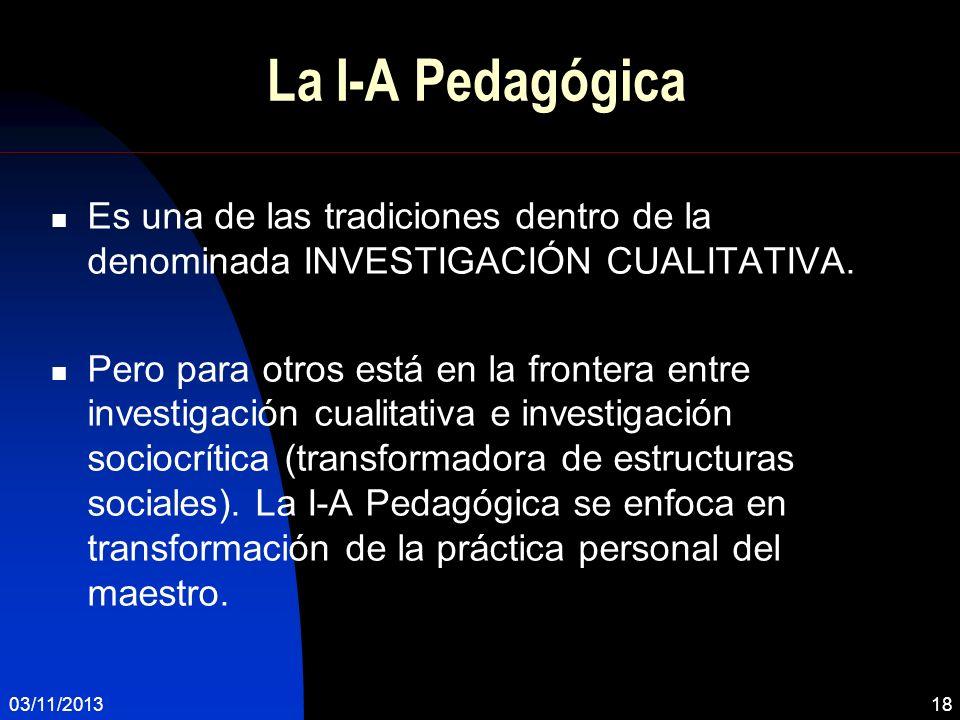 La I-A Pedagógica Es una de las tradiciones dentro de la denominada INVESTIGACIÓN CUALITATIVA.