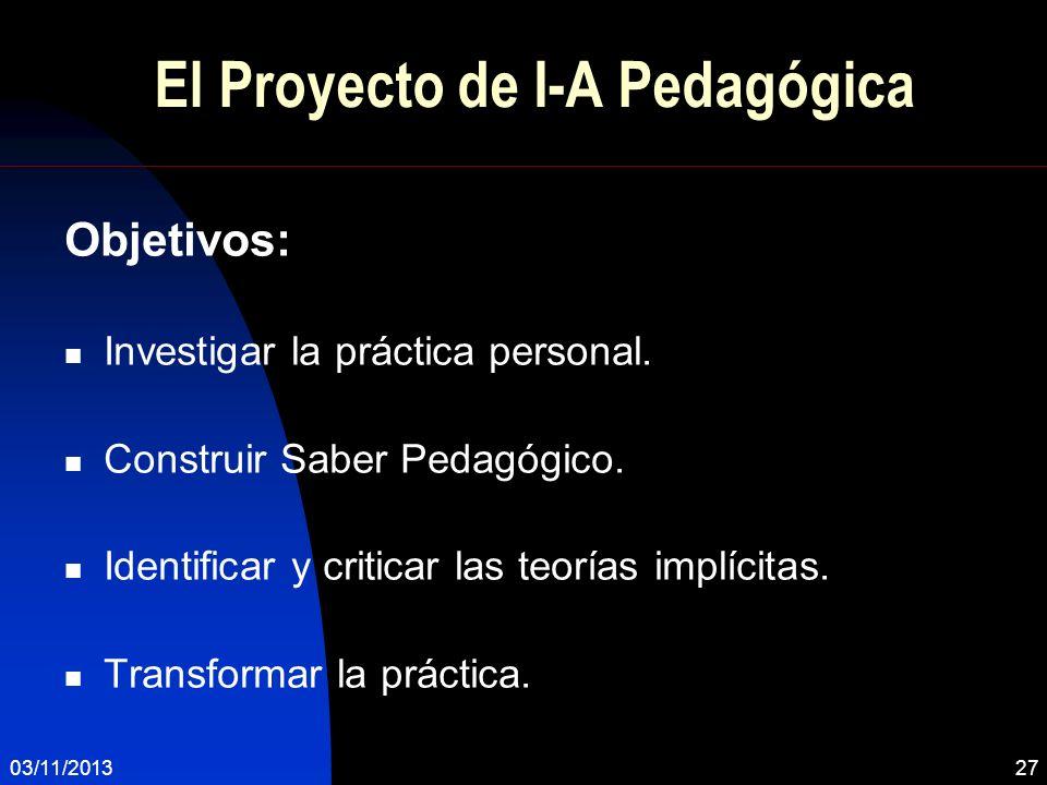 El Proyecto de I-A Pedagógica