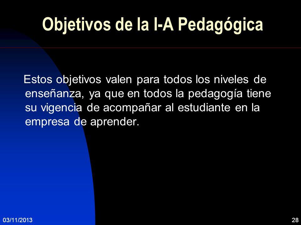 Objetivos de la I-A Pedagógica