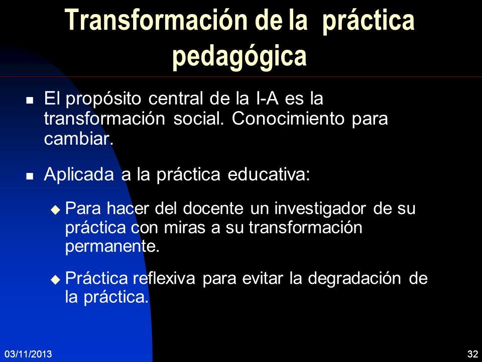 Transformación de la práctica pedagógica