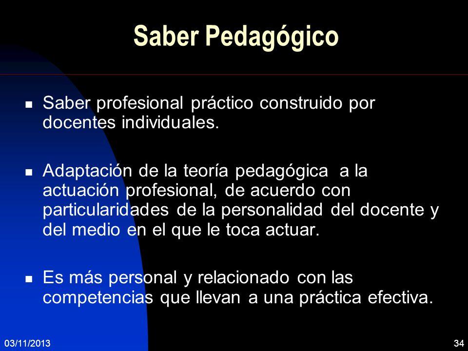 Saber Pedagógico Saber profesional práctico construido por docentes individuales.